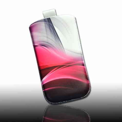 Handy Tasche weiß Muster Smoke pink/schwarz M40-3 für Samsung C3312 Rex60 / S5222R Rex80 / Galaxy Young S6310 / Galaxy Young Duos S6312 / Galaxy Pocket Plus S5301 / Samsung Galaxy Pocket Neo S5310 / Alcatel OT 903D / Alcatel OT Star 6010D