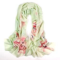 Olina Women's High-Grade Elegant Hand Painted 100% Pure Wool Scarf Shawl (Rose-Green)