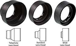 Sonia 3 in 1 Rubber Lens Hood 49mm for Canon Nikon Sony Olympus Pentax & all other Digital SLR Cameras