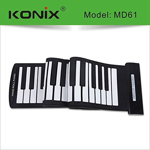 KONIX USB 61 Key MIDI Flexible Silicone Electronic Roll Up P
