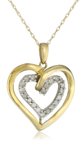 10k Yellow Gold 1/4 cttw Diamond Double Heart Pendant Necklace, 18&#8243;