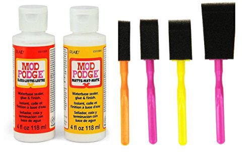 mod-podge-decoupage-starter-kit-bundle-with-6-items-gloss-and-matte-medium-with-4-foam-brushes