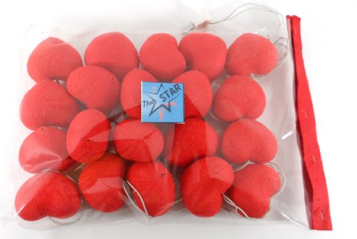 Thai Led Fairy String Light Cotton Heart Red Color 20 Balls For Party, Wedding, Christmas Tree And New Year Day # 5 /2 Set