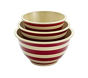 Paula Deen Signature Pantryware 3-pc. Red Stripe Mixing Bowl Set