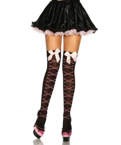 Amynetti Sexy Damen Dessous Halterlose Overknee Strümpfe mit Satinschleife Gothic Cosplay Karneval Stockings
