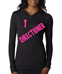 Thermal Black Hoodie Top Shirt Junior Women Small One Direction 1 Directioner Hot Pink Lettering