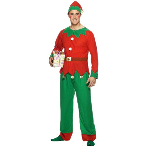 [GSG Elf Costume Adult Santa Claus Helper Red & Green Christmas Fancy Dress] (Zombie Race Car Driver Costume)