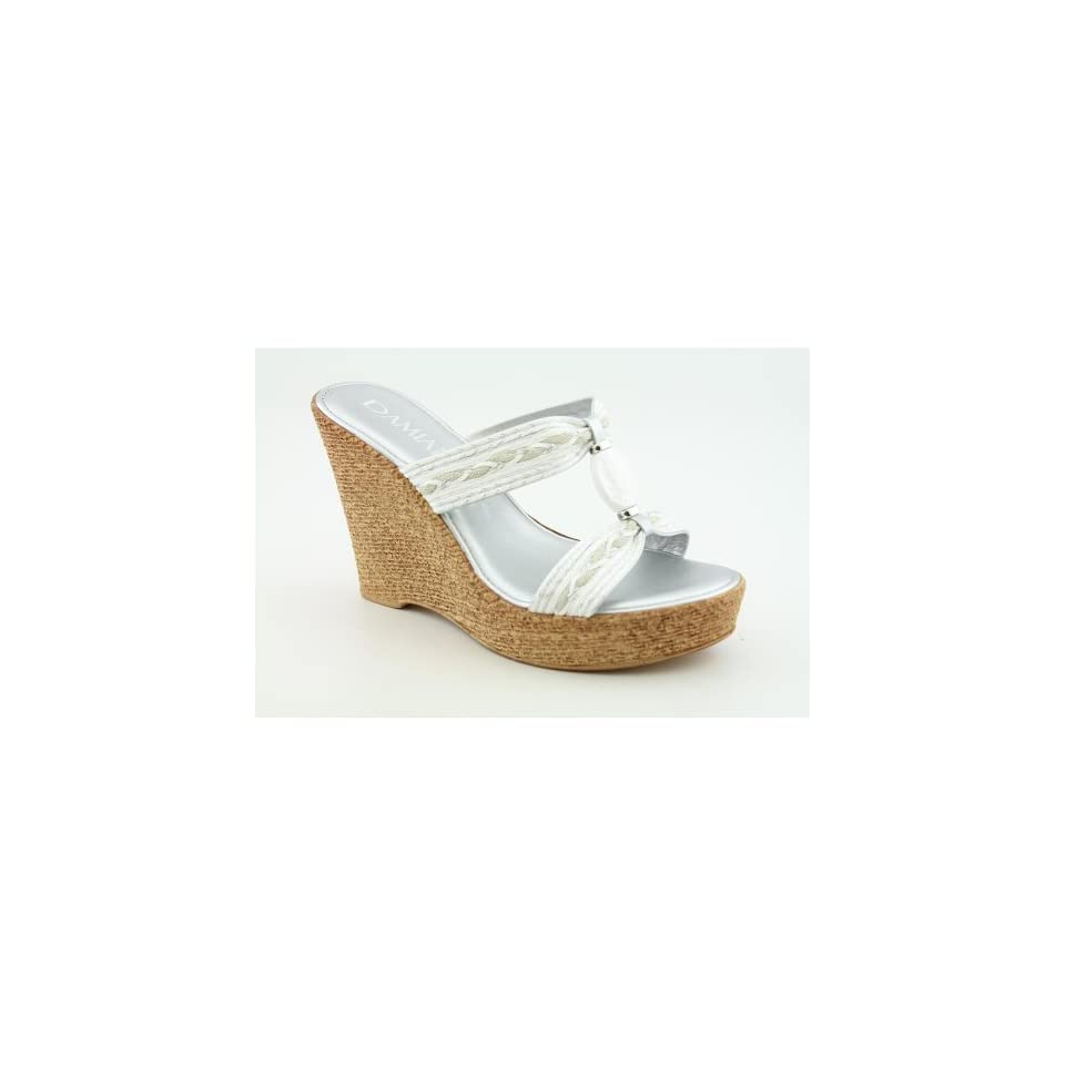 340aea3b4f Damianis 2584S2 Open Toe Wedge Sandals Shoes White Womens on PopScreen