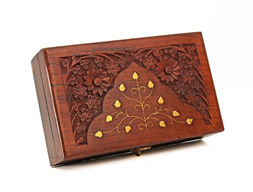 Rakhi Gift for Sister Fine Polished Wooden Keepsake Jewelry Trinket Storage Box Organizer Multipurpose with Hand Craved Floral Design and Brass Inlay