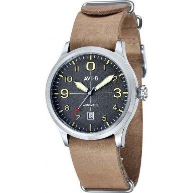 AVI-8 AV-4021-07 Mens Flyboy Automatic Beige Leather Nato Strap Watch