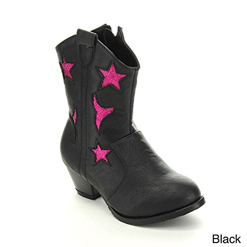 Jelly Beans Gega Kid'S Big Girls Chunky Heel Star Western Style Knee High Boots, Color:Black, Size:12