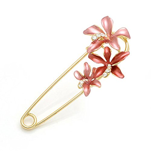 Fajewellery L'oro Tre piccoli strass Fiore placcato Spilla per le donne Pin