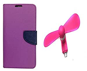 Novo Style Book Style Folio Wallet Case Xiaomi Redmi 2s Purple + Smallest Mobile Fan Android Smart Phone