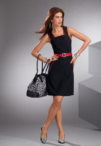 Belted Contrast-Trim Sheath