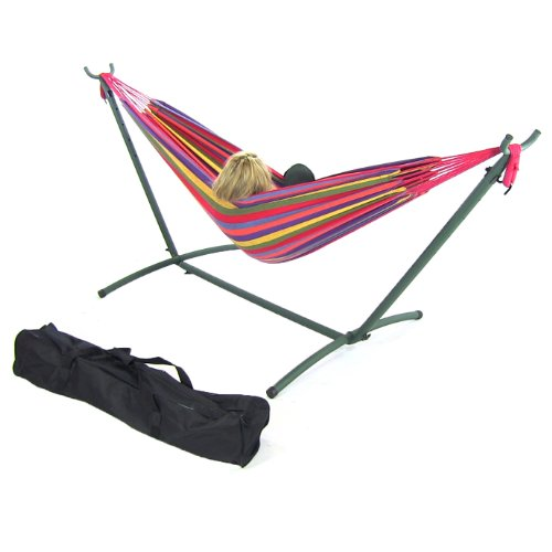 Tropical Double Brazilian Hammock & Stand Combo back-413963