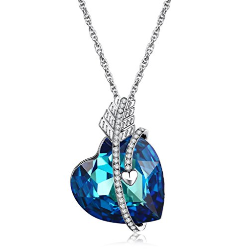 """Lelekiss """"Heart of the Ocean"""" SWAROVSKI Elements Blue Crystal Heart Shape Pendant Necklace Fashion Party, Love Valentine's Day Gifts for Her - LELEKISS"""