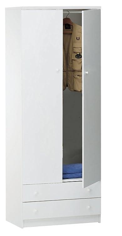 Armadio a 2 ante e 2 cassetti con barra porta abiti in bianco liscio