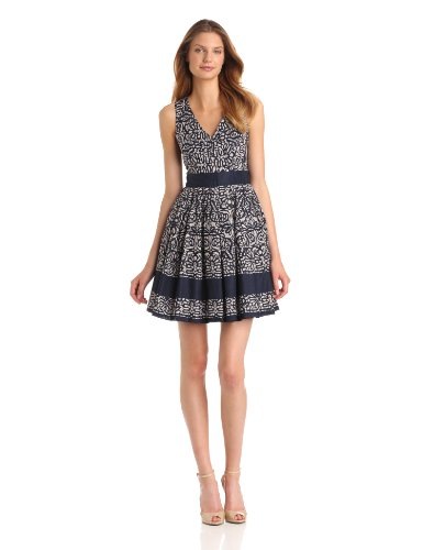 Taylor Dresses Women's Printed Fit and Flare Dress with Exposed Back Zipper, Navy Pearl, 2 Missy