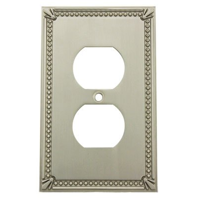Cosmas 44018-SN Satin Nickel Single Duplex Electrical Outlet Wall Plate / Cover