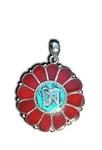 Inlaid Solid 925 St Sterling Silver Ohm Lotus Flower Meditation Buddhist Buddha Pendant Jewerly Hindu 1 Inch By 1 Inch Red Coral And Turquoise Inlay On A Beautiful 925 St Sterling Silver Heavily Plated Chain Handmade At The Foot Of The Himalayas By True Nepali Crafts Men And Women