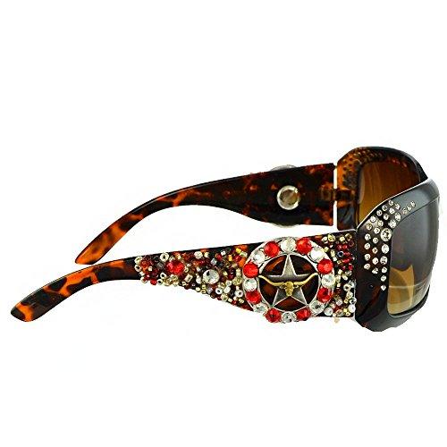 Star Round Concho Rhinestone Western Bling Sunglasses-Red