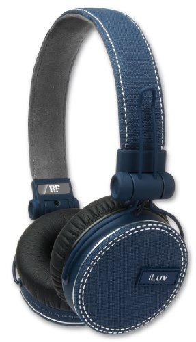 Iluv Ref, Deep Bass On-Ear Headphones With Canvas Fabric Exterior For Smartphones - Blue