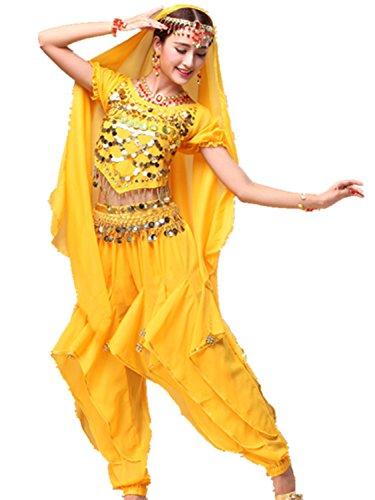 Dancewear Danza del ventre Custome V Neck Monetes Top & Chiffon lunga Pantaloni yellow