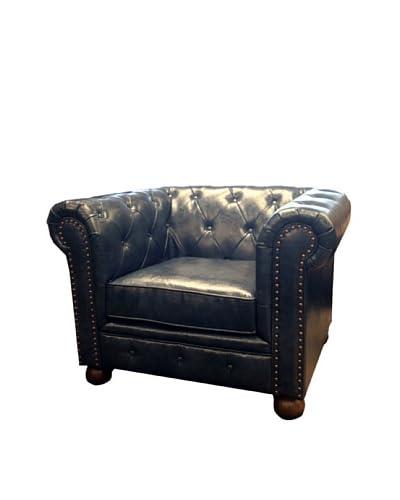 Armen Living Winston Bonded Leather Vintage Chair, Blue