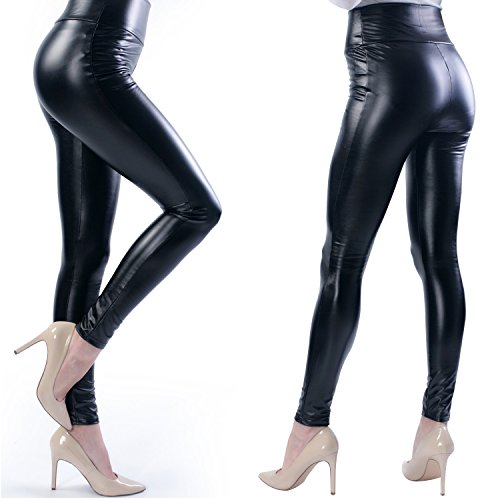 Ginasy Women's Slim Wet Look High Waist Thin Faux Leather Leggings - Medium (Wet Look Leather compare prices)