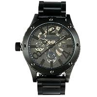 [ブルッキアーナ ブラックレーベル]BROOKIANA BLACKLABEL オールブラック クウォーツ腕時計 スケルトンギミック BKL1001-14 メンズ