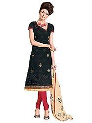 SR Women's Cotton Unstitched Dress Material (Black Top Red Bottom Print Duptta)