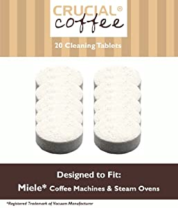 20 Miele Coffee & Espresso Machine Cleaning Tablets, Part # 05626080 & 07616440, Designed & Engineered by Crucial Coffee by crucial vacuum