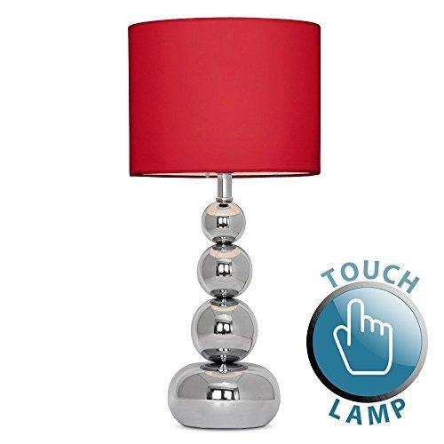 Touch-Me-Tischlampe-mit-verchromten-Kugeln-und-rotem-Lampenschirm-aus-SamtSeide