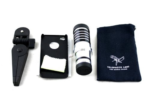 Apexel 12X Optical Zoom Telescope/Telephoto Lens Kit With Tripod/Back Case For Apple Iphone 4/4S
