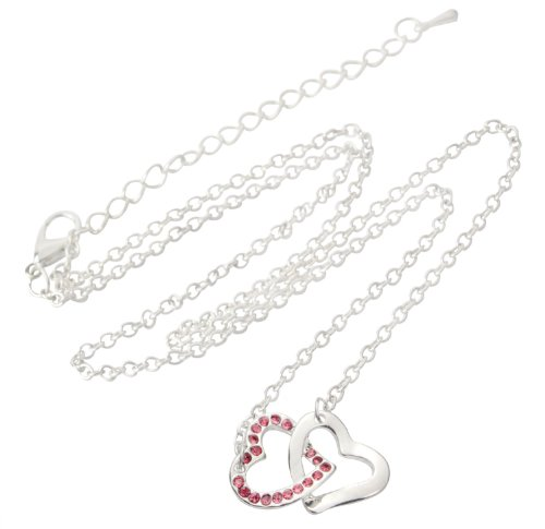 niceeshop(TM) Jewelry Heart to Heart Crystal Rhinestone Lover Choker Pendant Necklaces Chain For Women-Pink