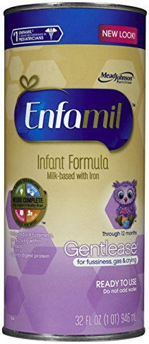 Enfamil Gentlease Infant Formula for Fussiness and Gas, Ready To Use, For Babies 0-12 Months, 32-Ounce (Pack of 6) - 1