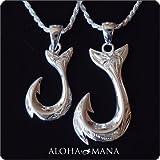 AlohaMana ハワイアンジュエリー ペアペンダント・スクロールホエールテールフィッシュフックペアネックレス SILVER925 (S)40cm (L)40cm ロープチェーン付きセット fpd2725pair