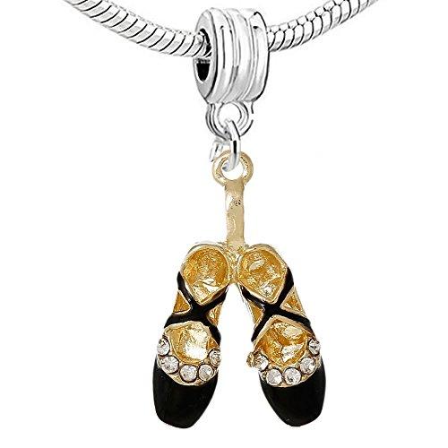 Sexy Sparkles da donna scarpe da Ballerina classica, per Charm, placcato argento, colore: black ballet shoes, cod. Pandora Charm Compatible