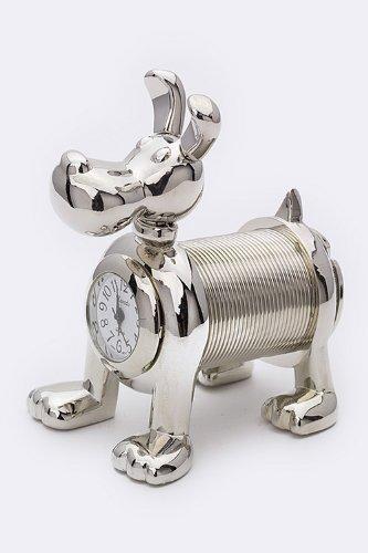 Trendy Fashion Jewelry Sling Dog Mini Clock By Fashion Destination | (Silver)