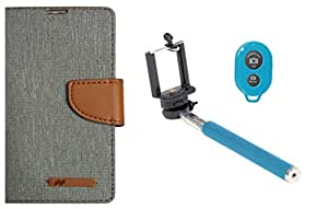 Novo Style Wallet Dairy Jeans Flip Case For Lenovo A7000 / Lenovo K3 Note - Grey & Bluetooth Selfie Stick foriPhone and Android Smartphones