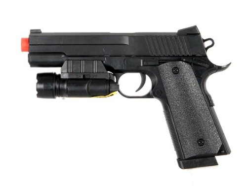 Ukarms P662A Spring Airsoft Pistol Tactical .45 Fps-180 W/ Aiming Sight, Tactical Flashlight
