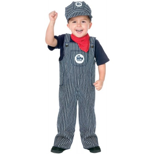 Fun World Costumes Baby's Train Engineer Toddler Costume, Blue/White