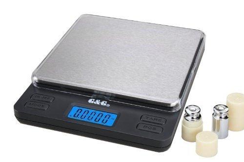 G&G Balance digitale LS pour la cuisine ou les échanges de monnaie Surface de pesée extra large 200 g x 0,01 g avec poids de calibrage