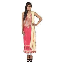 Kashish Creations Women Resham Pink & Cream Semi Stitched Salwar Suit