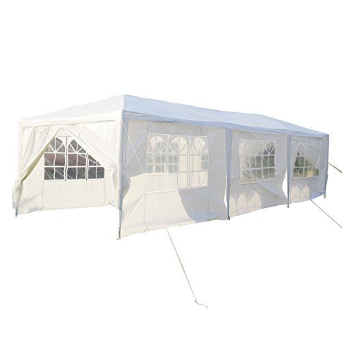Partyzelt-Pavillon-3-x-9m-Gartenzelt-Hochzeit-Festzelt-Zelt-Gartenpavillon-mit-Fenster-XXXL-Wei