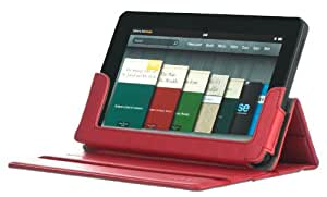 M-EDGE Foldable Folio Cover Case and Stand for Amazon Kindle Fire Tablet PC - Red (Comes with a Secure Credit Card Sleeve)