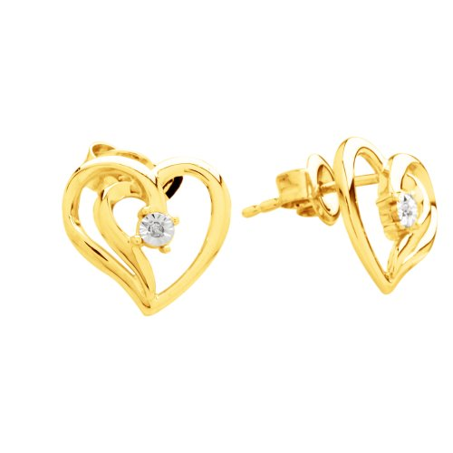 DiAura 14k Gold Plated Sterling Silver Diamond-Accent Heart Earrings