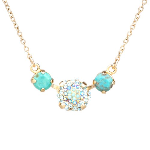 ANYA Chain Necklace with Blue Natural Stones and Swarovsky