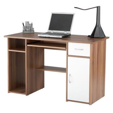 Mercer Computer Workstation - Storage Shelves, Drawer & Cupboards - Walnut
