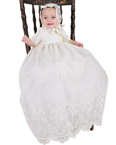 Memory 9 Month Christening Baptism Blessing Gown For Girls, Made In Usa front-1068970